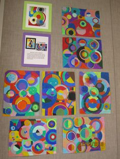 Sonia Delaunay inspired oil pastel drawings with watercolor washes - Grade 7