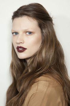 make-up · dark lipstick · bleached eyebrows