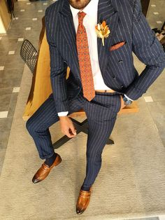 Mens Fashion Blazer, Suit Fashion, Slim Fit Suits, Tie And Pocket Square, Double Breasted Suit, Vest Jacket, Mens Suits, Navy Blue, Jackets