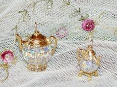 Small Gold Vermeille and Swarovski Crystal Teapot Charm - Roses And Teacups