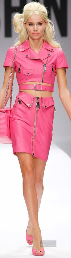 Moschino.~ Spring Hot Pink Cropped Leather Jacket+Mini Skirt w Zipper Details 2015.