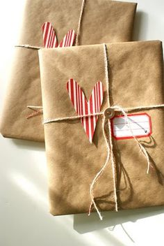 Paper bags make great wrapping paper for an organic look. Love the twine and paper hearts too!