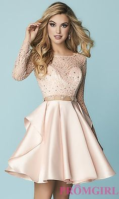 Shop mock-two-piece short homecoming dresses at PromGirl. Designer party dresses with lace bodices, long sheer sleeves and tiered mikado skirts. Graduation Dresses Long, Long Sleeve Homecoming Dresses, Two Piece Homecoming Dress, Cute Prom Dresses, Grad Dresses, Dance Dresses, Pretty Dresses, Lace Sleeves, Dresses With Sleeves