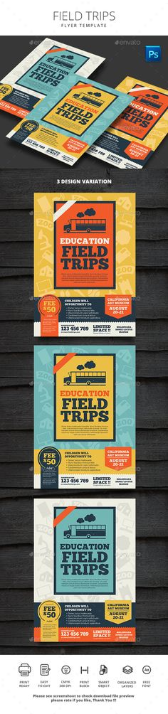 Field Trips - #Flyers Print #Templates Download here: https://graphicriver.net/item/field-trips/19462547?ref=alena994