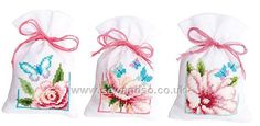 Buy Flowers and Butterflies II Bags, Pack of 3 Cross Stitch Kit Online at www.sewandso.co.uk