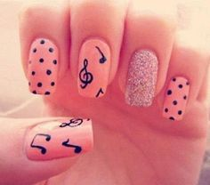 Sparkly, Polka dotted, music note nails!