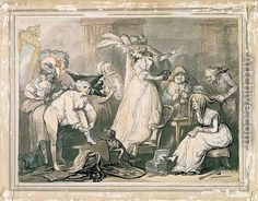 Artist Name:    Thomas Rowlandson         Painting Title:    Dressing for a Masquerade, 1790         Year:    1790