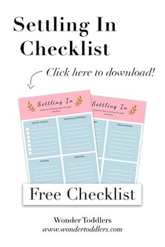 I've created this very simple checklist that you can download for free!  What is on the checklist?  - 2 pages - Write down what you want to tell your kid's new teachers - Make notes of the process of settling in - Morning: whatever you need to know about drop-off time - Afternoon: what is the routine? - Pick-up time - Ask about the activities - Ask about your child's key person  #wondertoddlers #parentingtips #parenting #toddlers #preschool #settlingintonursery #settlingin