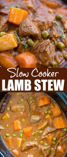 SLOW COOKER LAMB STEW Slow Cooker Lamb Stew with tender fall apart lamb chunks and hearty vegetables have a rustic flavourful wine based gravy. This Lamb Stew is definitely going to keep you warm in the winter. Lamb Stew Slow Cooker, Crockpot Lamb, Slow Cooker Stew Recipes, Slow Cooked Lamb Chops, Diabetic Slow Cooker Recipes, Lamb Chop Recipes, Meat Recipes, Dinner Recipes, Crockpot Recipes