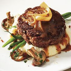 Hamburger Steak with Onion Gravy | MyRecipes.com  It was really good.  I ate the onions and I don't even like them.  I did add garlic sauce to the meat because I thought it needed more.