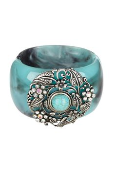 Jewelry by Felicia  Vintage Turquoise Hinged Bangle