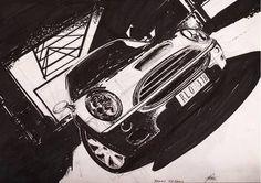 mini cooper | digart | digart.pl Ferens design Joanna Ferens - Hofman portret rysunek