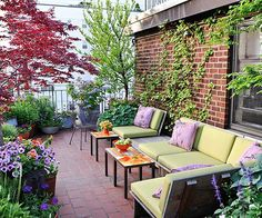 Purples and greens are the perfect colors for any outdoor space! More colorful ideas here: http://www.bhg.com/home-improvement/porch/outdoor-rooms/colorful-backyard-decorating-ideas/?socsrc=bhgpin061714coordinatecolor&page=8