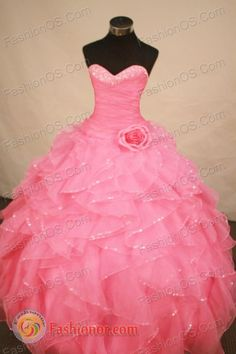Exquisite Ball Gown Sweetheart Floor-length Rose Pink Organza Beading Quinceanera Dress Style FA-L-176