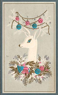 Christmas •~• vintage reindeer greeting card in blue and pink