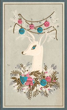 Christmas •~• vintage reindeer greeting card in blue and pink