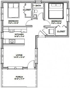 Tiny House -- -- 705 sq ft - Excellent Floor Plans Living room needs to include porch area, and put deck all of front right. L Shaped House Plans, Small House Floor Plans, Small Tiny House, Tiny House Cabin, Tiny House Living, Tiny House Design, The Plan, How To Plan, House Blueprints