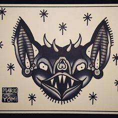 Awesome Bat Head tattoo design created by @mario.yomi with their Chameleon Pens.  #bat #bathead #traditional #batheadtattoo #battattoo #blackandgrey #black #boldlines #tattooflash #traditionaltattooflash #animaltattoo #chameleonpens #flashart