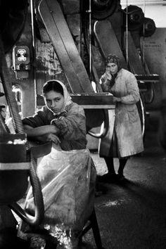 Magnum Photos- Ara Guler TURKEY. 1959. Feamle workers in a battery factory at Taslitarla.