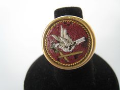 Antique 14K Gold White Dove MICRO MOSAIC Ring circa 1800s Size 6.5 by Esoterique50 on Etsy