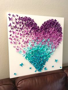 Lavender and Turquoise Ombre Butterfly Heart Mix Butterflies Canvas Art Nature F.- Lavender and Turquoise Ombre Butterfly Heart Mix Butterflies Canvas Art Nature Fantasy Room Decor Wa - Etsy - - Art Papillon, Art Et Nature, Nature Crafts, Butterfly Canvas, Origami Butterfly, Heart Origami, Butterfly Mobile, Origami Flowers, Butterfly Crafts