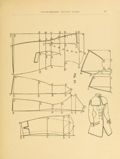 1884 Double-breasted cut-away jacket pattern. Handbook on dress and cloak cutting by Hecklinger