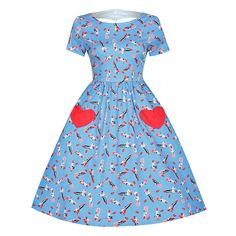 Brittany' Blue Lipstick Print Loveheart Swing Dress