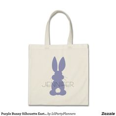 Purple Bunny Silhouette Easter Personalized Budget Tote Bag