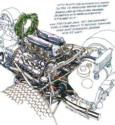 Lotus 49 Ford Cosworth- Freehand Drawing by Peter Hutton :: Illustrator