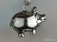 Piggy Bank Charm Sterling Silver Happy Pigs for by jewelbecharmed