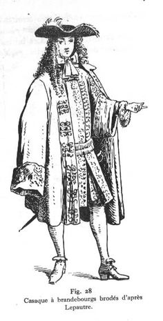 Cassock Coat. - outer garment  Periwig  tricorne hat. Plain broad silk band worn as bandelier over the waistcoat and underneath the coat.