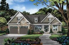 The Goldmoss plan 1481 is now available! This plan is a simple ranch design with three bedrooms. This home is perfect for a narrower lot with a front-facing garage. Garage House Plans, House Plans One Story, Best House Plans, Dream House Plans, Build House, Craftsman Ranch, Craftsman Bathroom, Craftsman Homes, Country Style House Plans