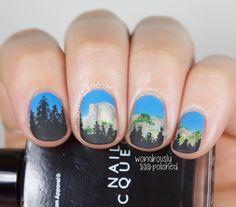 Wondrously Polished: The Digital Dozen does Summer - Day 4: Sunset Glow on Half Dome Nail Art