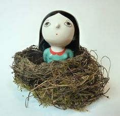 Nathaie Choux - girl in the nest - ceramic work...