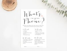 What's On Your Phone Printable, Printable Bridal Shower Game, Bridal Shower Game