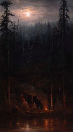 The invincible tamer Norton Bush – Campfire Scene (detail). The invincible tamer Th … - Modern Fantasy Landscape, Landscape Art, Landscape Paintings, Dark Fantasy, Fantasy Art, Nocturne, Moonlight Painting, Illustration Art, Illustrations