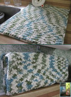 "Dish drying mat.  ""My"" pattern of sc-dc/space.  Crocheted 38"" long, folded in half and sc around all edges (even fold); added hang loop and large dome for closing.  Finished size 16""X19"".  Yarn was Bernat Handicrafter cotton. (Addition:  I have found this mat dries out much faster than the foam enclosed ones.)"