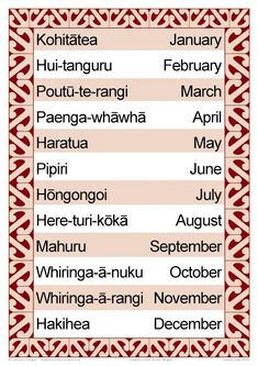 Months of the Year Chart with both English and Maori titles. An essential classroom display Maori Songs, Treaty Of Waitangi, Waitangi Day, Maori Symbols, Maori Patterns, Teachers Toolbox, Maori Designs, Song Words, Primary Teaching