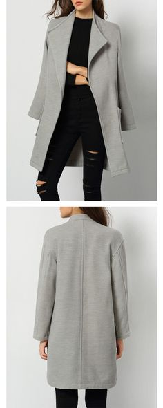 Season women snap fashion trendy-Grey long coat with mock neck desinger dress. All items at shein.com