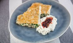 Spinach, Ricotta and Fennel Fillo with Smoked Labneh and Chilli Oil Garlic Spinach, Spinach Ricotta, Snack Recipes, Dinner Recipes, Snacks, Saute Onions, Fennel Seeds, Greek Recipes, 4 Ingredients