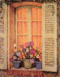 Window with Flowers by Henri Le Sidaner