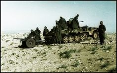 German troops with SdKfz 10 mounted with a 2-cm FlaK 38 towing a PaK 37, North Africa, Apr-May 1941.