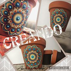 No automatic alt text available. Mandala Painting, Mandala Drawing, Dot Painting, Painted Flower Pots, Painted Pots, Terra Cotta, Art Projects, Projects To Try, Deco Paint
