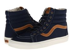 Vans SK8-Hi Reissue Coated Canvas Dress Blues http://www.zappos.com/vans-sk8-hi-reissue-baja-black-suede
