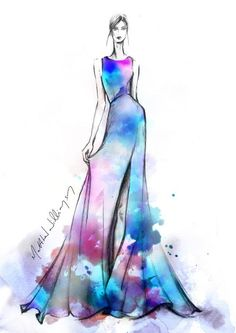 Fashion illustration by designer Matthew Williamson Only Fashion, Fashion Art, Watercolor Dress, Illustration Mode, Matthew Williamson, Fashion Design Sketches, Fashion Drawings, Dress Sketches, Fashion Sketchbook