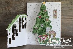 7 Days of Stampin' Up! Holiday Catalog Sneak Peeks. Trifold Christmas card idea using the Ready for Christmas stamp set and Christmas Staircase thinlits.