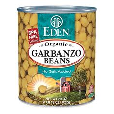 Garbanzo Beans (chick peas), Organic 29 oz. BPA free lined can. #EdenFoods
