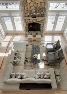 Coast Living Room with Dramatic Stone Fireplace