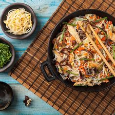 Stir fry noodles for lunch. Now we're hungry! #noodles #lunch #stirfry