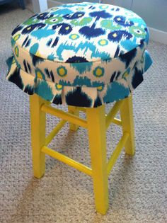 Pine Tree Home: Sewing: Painted Craft Stool with Fabric Cover; add piping, make ruffle longer
